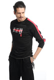 Pizoff Unisex Long Raglan Sleeve Back Print Cotton Black Sweatshirt AH013