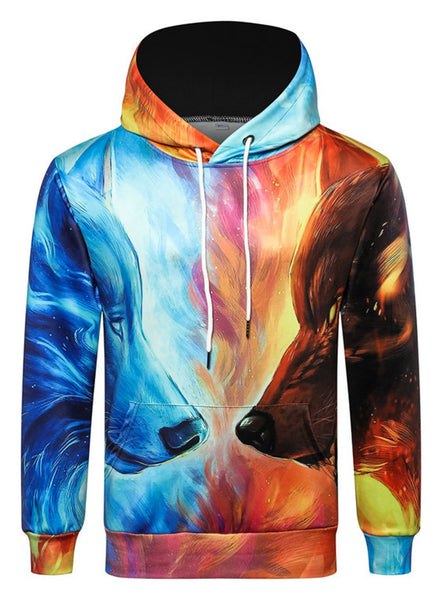 Pizoff Unisex 3D Digital Print Hoodie With Pockets AC020-43