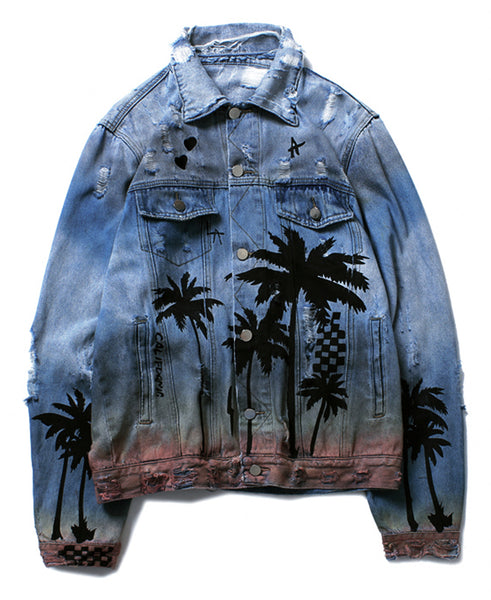 Pizoff Mens Hipster Washed Denim Retro Streetstyle Jacket AC107