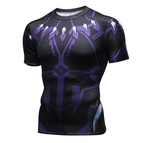 Pizoff Superhero Black Panther Tights Work Out Compression Muscle T-shirt AC109-01(Asian Size)