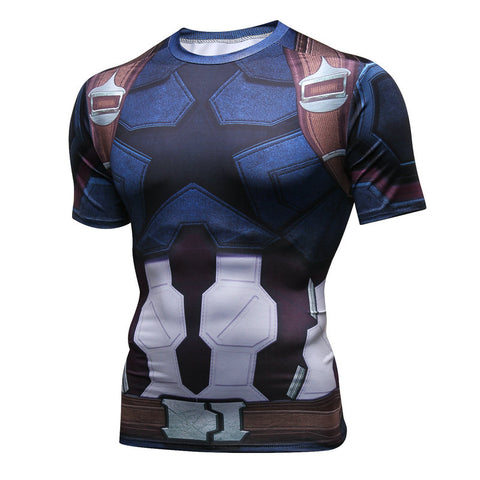 Pizoff Superhero Captian America Tights Work Out Compression Muscle T-shirt AC109-03(Asian Size)