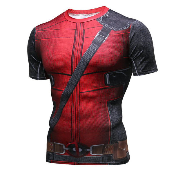 Pizoff Superhero Deadpool Tights Work Out Compression Muscle T-shirt AC109-04(Asian Size)