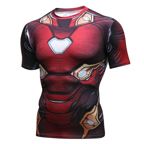 Pizoff Superhero Ironman Tights Work Out Compression Muscle T-shirt AC109-07(Asian Size