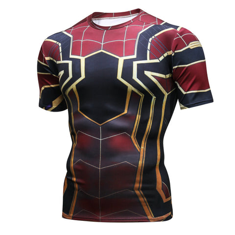 Pizoff Superhero Spiderman Tights Work Out Compression Muscle T-shirt AC109-08(Asian Size