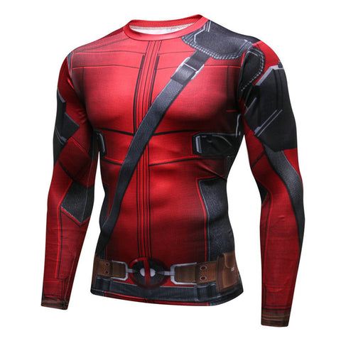 Pizoff Superhero Deadpool Tights Work Out Compression Muscle Long Sleeve Shirt AC110-01(Asian Size)