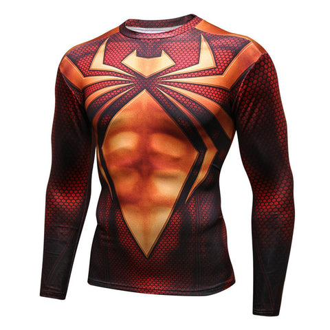 Pizoff Superhero Spiderman Tights Work Out Compression Muscle Long Sleeve Shirt AC110-02(Asian Size)
