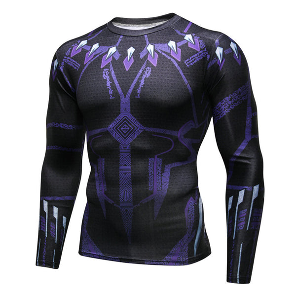 Pizoff Superhero Black Panther Tights Work Out Compression Muscle Long Sleeve Shirt AC110-03(Asian Size