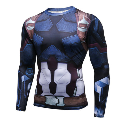 Pizoff Superhero Captain America Tights Work Out Compression Muscle Long Sleeve Shirt AC110-05(Asian Size
