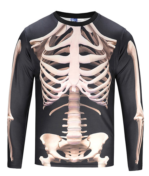 PIZOFF Mens Boys Long Sleeve Funny Bones Print T-Shirt for Cosplay and Halloween Christmas AG004-07
