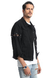 Pizoff Mens Hipster Washed Denim Black&White Jacket Coat Ah005