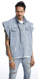 Pizoff Mens Hipster Sleeveless Oversize Cotton Denim Blue&Black&White Jacket AH006