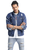 Pizoff Mens Hipster Washed Denim Black&Blue Jacket Coat AH012
