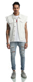 Pizoff Mens Hipster Sleeveless Oversize Cotton Denim Light Blue&Black&White Jacket AH013