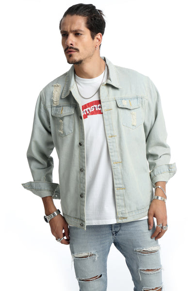Pizoff Mens Hipster Washed Denim Light Colour Jacket Coat AH017