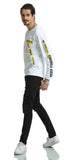 Pizoff Unisex Long Raglan Sleeve Back Print Cotton Black&White Sweatshirt AH026