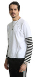 Pizoff Unisex Long Raglan Sleeve Back Print Cotton Black&White Sweatshirt AH027