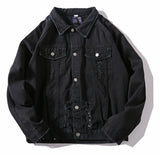 Pizoff Mens Hipster Streetfashion Pop-up Washed Denim Jacket AH037