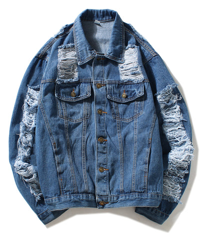 Pizoff Mens Hipster Streetfashion Pop-up Washed Denim Jacket AH050