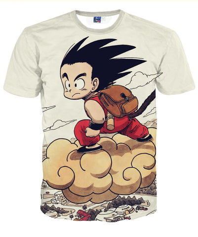 Pizoff Unisex 3D Dragon Ball Cartoon Print T-shirt Top AL002-35