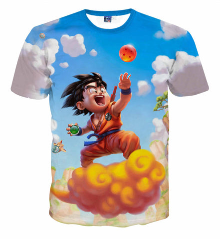 Pizoff Unisex 3D Dragon Ball Cartoon Print T-shirt Top AL002-40