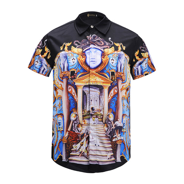 Pizoff Men's Short Sleeve Luxury Print Dress Shirt AL003-02