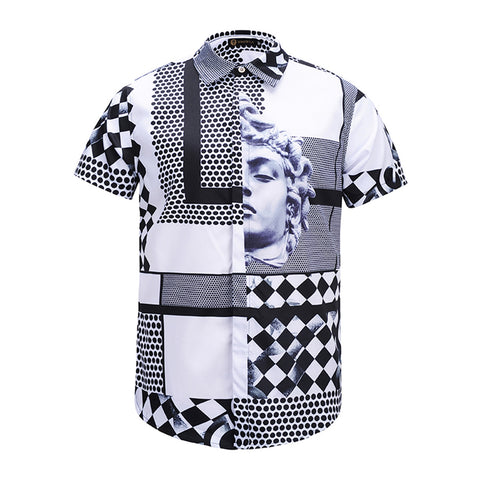 Pizoff Men's Short Sleeve Luxury Print Dress Shirt AL003-06