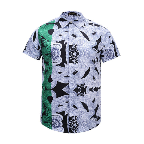 Pizoff Men's Short Sleeve Luxury Print Dress Shirt AL003-07