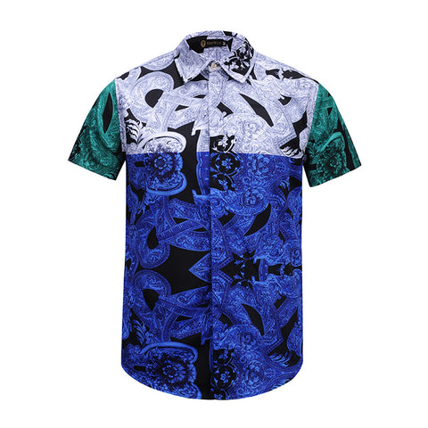 Pizoff Men's Short Sleeve Luxury Print Dress Shirt AL003-08