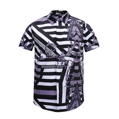 Pizoff Men's Short Sleeve Luxury Print Dress Shirt AL003-09