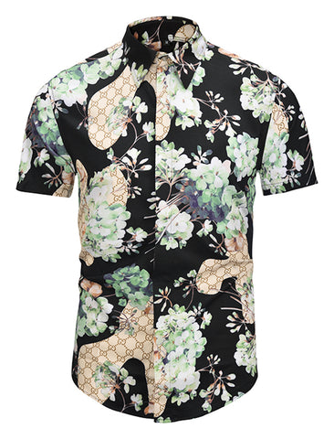 Pizoff Men's Short Sleeve Luxury Print Dress Shirt AL003-10
