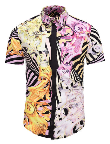 Pizoff Men's Short Sleeve Luxury Print Dress Shirt AL003-11