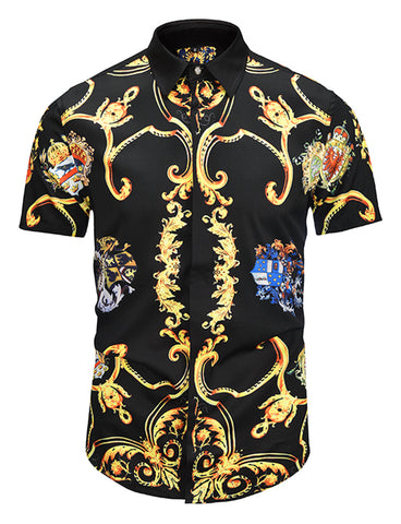 Pizoff Men's Short Sleeve Luxury Print Dress Shirt AL003-12
