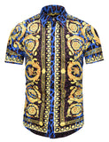 Pizoff Men's Short Sleeve Luxury Print Dress Shirt AL003-13
