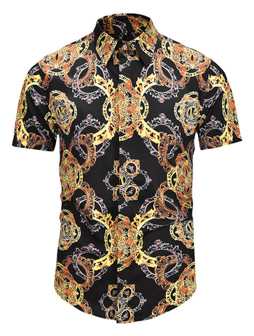 Pizoff Men's Short Sleeve Luxury Print Dress Shirt AL003-15