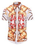 Pizoff Men's Short Sleeve Luxury Print Dress Shirt AL003-16