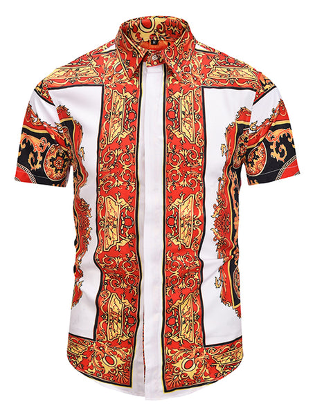 Pizoff Men's Short Sleeve Luxury Print Dress Shirt AL003-17