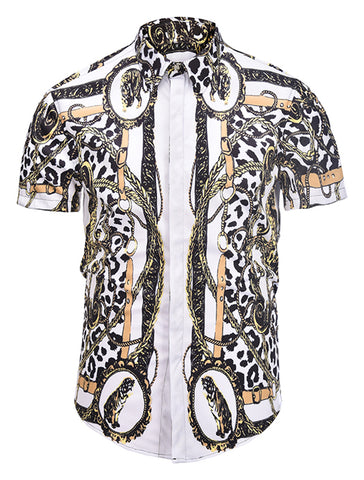 Pizoff Men's Short Sleeve Luxury Print Dress Shirt AL003-20