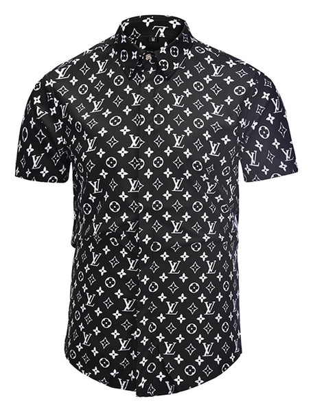 Pizoff Men's Short Sleeve Luxury Print Dress Shirt AL003-21