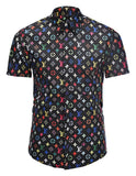 Pizoff Men's Short Sleeve Luxury Print Dress Shirt AL003-22