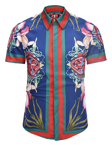 Pizoff Men's Short Sleeve Luxury Print Dress Shirt AL003-23