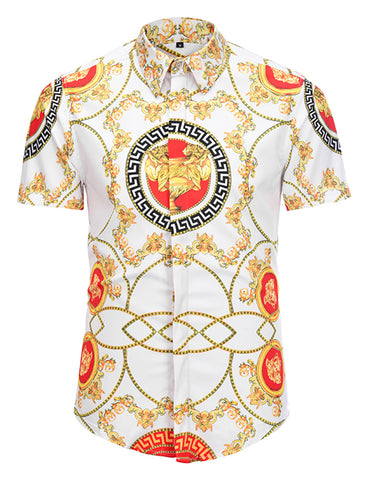 Pizoff Men's Short Sleeve Luxury Print Dress Shirt AL003-24