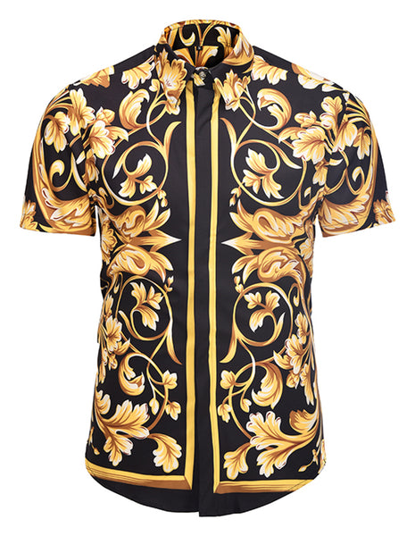 Pizoff Men's Short Sleeve Luxury Print Dress Shirt AL003-25