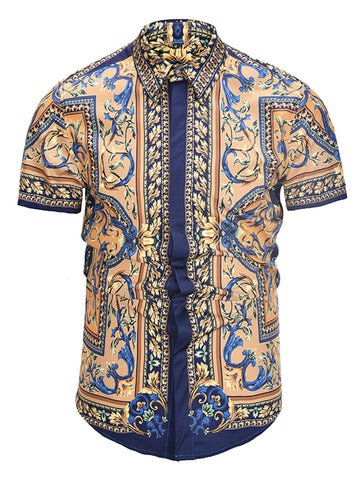 Pizoff Men's Short Sleeve Luxury Print Dress Shirt AL003-26