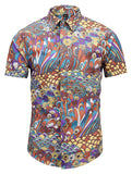 Pizoff Men's Short Sleeve Luxury Print Dress Shirt AL003-27