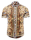 Pizoff Men's Short Sleeve Luxury Print Dress Shirt AL003-29