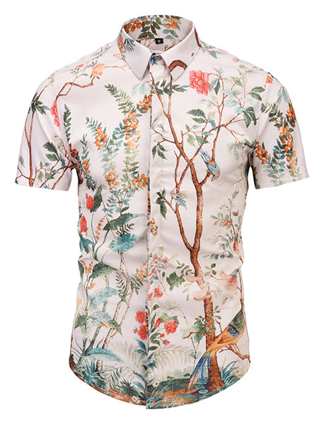 Pizoff Men's Short Sleeve Luxury Print Dress Shirt AL003-32