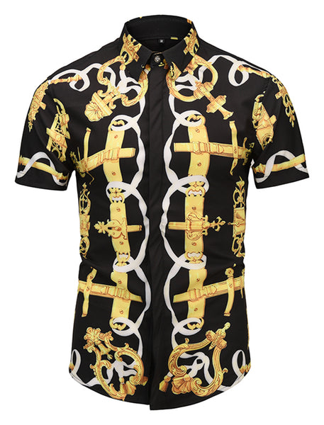 Pizoff Men's Short Sleeve Luxury Print Dress Shirt AL003-33