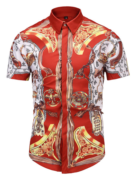 Pizoff Men's Short Sleeve Luxury Print Dress Shirt AL003-34