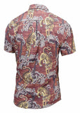 Pizoff Men's Short Sleeve Luxury Print Dress Shirt AL003-35
