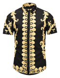 Pizoff Men's Short Sleeve Luxury Print Dress Shirt AL003-38